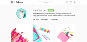 Caitlin Bacher's Instagram Page
